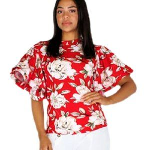 Eien Womens Small Floral Red & White Top